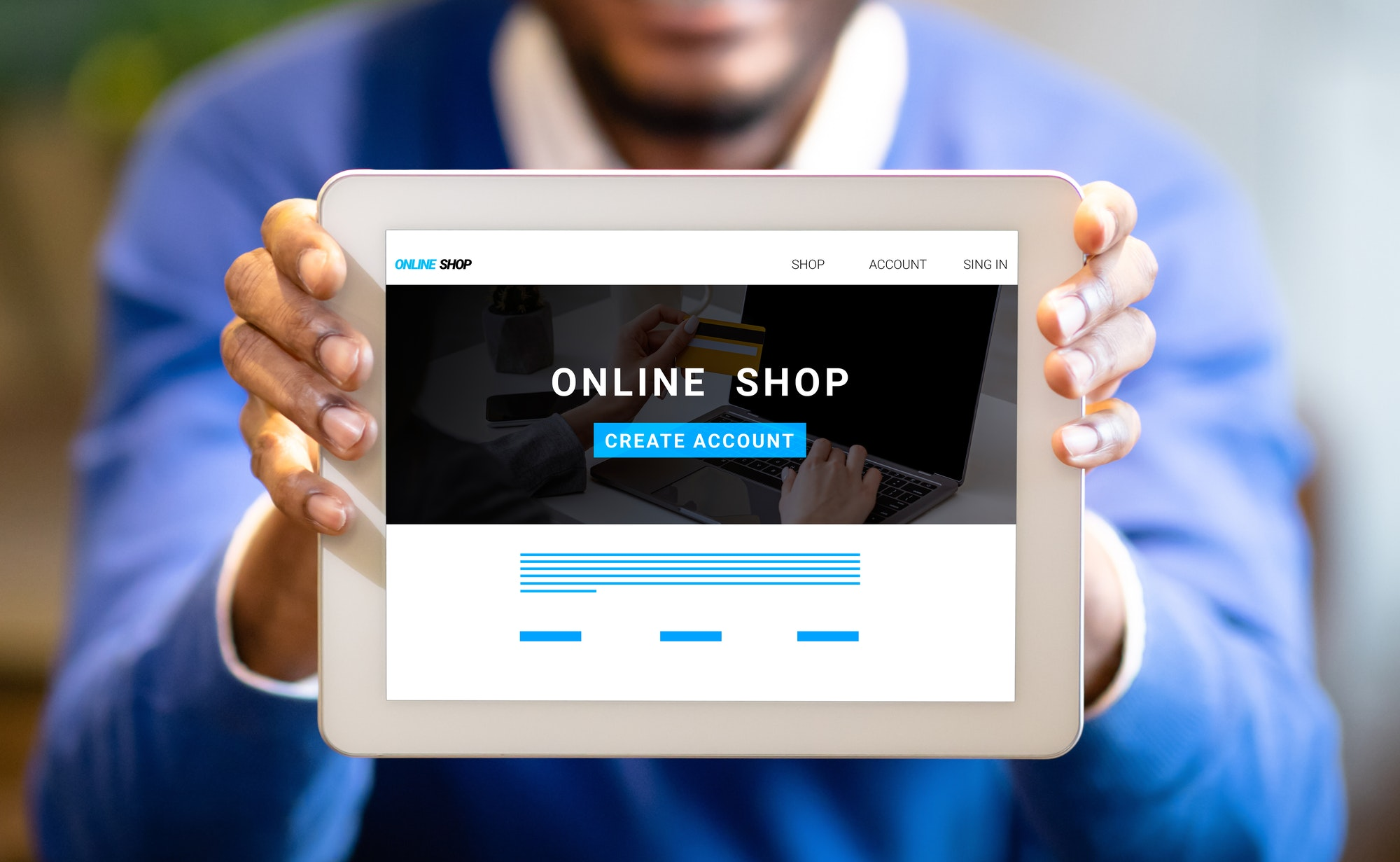 young black businessman showing tablet with online shop website on screen creative collage