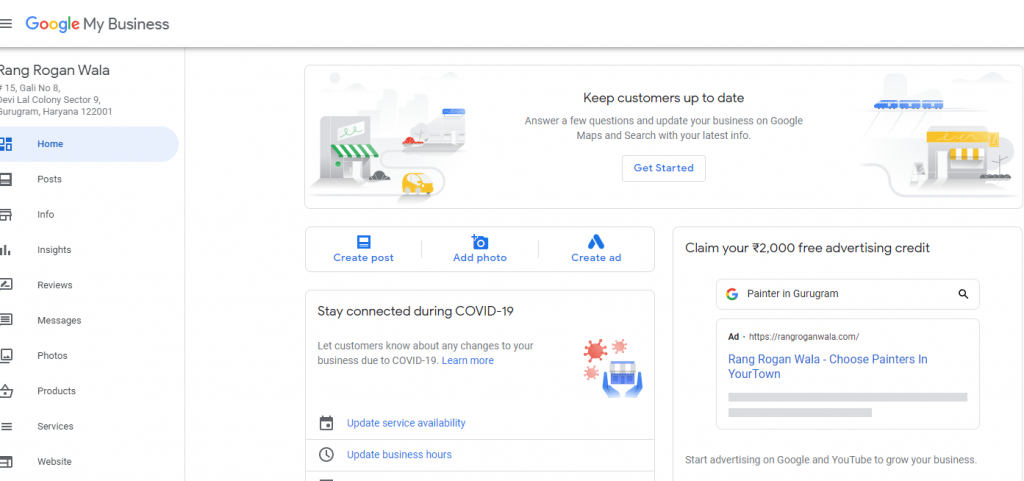 example of google business dashboard